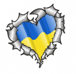 Ripped Torn Metal Heart with Waving Ukraine Country Flag Motif External Car Sticker 105x100mm